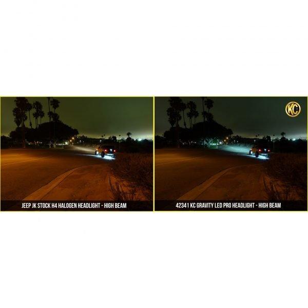 "Gravity LED Pro 7"" Headlight DOT Jeep JK 07-18 Pair Pack System - KC #42341"