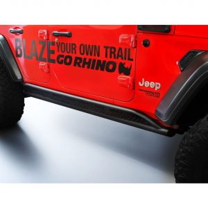 Go Rhino - FS4506T - Jeep Wrangler JL 4 Door Frame Mount Steel Sliders, Pair, Black Powdercoat