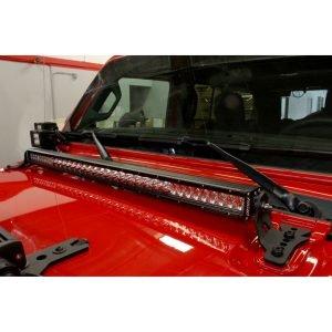 Go Rhino - 731300T - Jeep Wrangler JL & JLU Hood hinge Mount for a 30in Single Row LED Bar