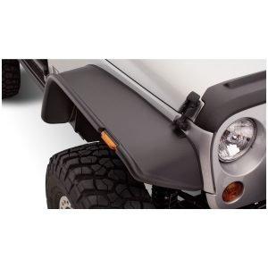 Bushwacker 10053-07 Black Jeep Flat Style Textured Finish Front Fender Flares for 2007-2018 Jeep Wrangler JK