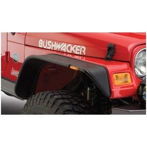 Bushwacker 10055-07 Black Jeep Flat Style Textured Finish Front Fender Flares for 1997-2006 Jeep Wrangler TJ