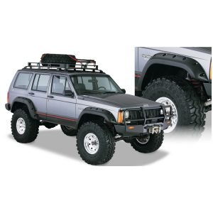 Bushwacker 10911-07 Black Jeep Cutout Style Textured Finish 4-Piece Fender Flare Set for 1984-2001 Jeep Cherokee 4-Door