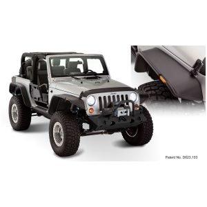 Bushwacker 10919-07 Black Jeep Flat Style Textured Finish 4-Piece Fender Flare Set for 2007-2018 Jeep Wrangler JK 2-Door