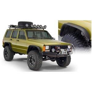 Bushwacker 10922-07 Black Jeep Flat Style Textured Finish 4-Piece Fender Flare Set for 1984-2001 Jeep Cherokee
