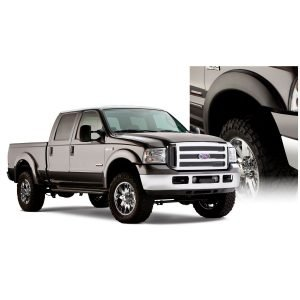 Bushwacker 20928-02 Black Extend-A-Fender Style Smooth Finish 4-Piece Fender Flare Set for 1999-2007 Ford F-250 & F-350 Super Duty