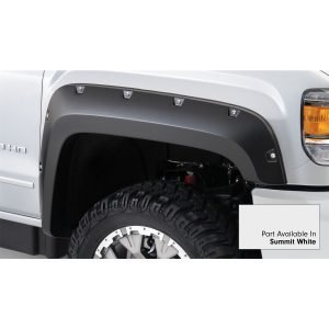 Bushwacker 40967-14 Pocket/Rivet Style Color Matched Summit White 4-Piece Fender Flare Set for 2017-2019 Sierra 2500 HD, 3500 HD