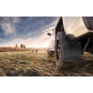 Kick Back Mud Flaps Front 12 Wide - Black Top and Stainless Steel Weight